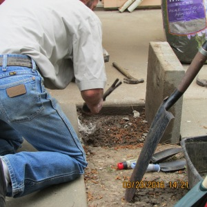 Chipping away old cement