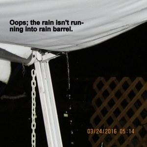 Oops, the rain is missing the rain barrel