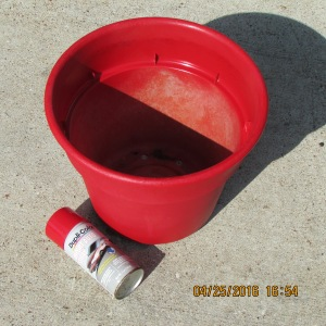 Spray painted red planter