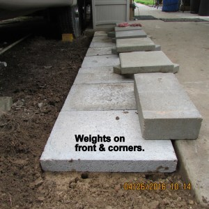 Weights on front and corners