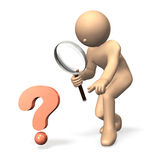 Magnifying glass with flesh-color stick figure