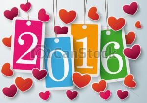 Four Colored Price Stickers Hearts 2016