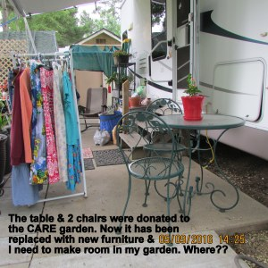 Garden table and chairs returned