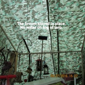 No water on top of tarp
