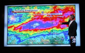 TV report on rain totals