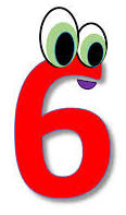 Number six red color with eyes
