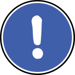 Exclamation mark blue in a circle