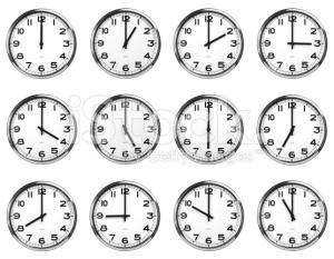 Clocks twelve clocks with various times