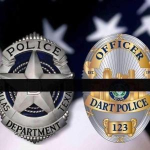 Dallas Law Enforcement badges with black bar
