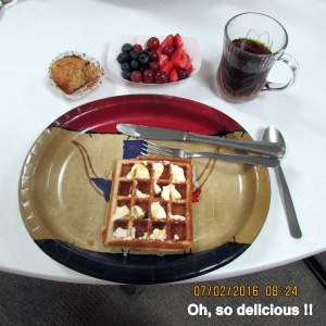 Lorraine's plate with waffle
