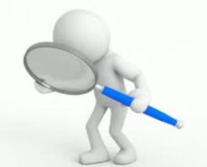 Magnifying glass with white stick figure and magnifying glass with blue handle (2)