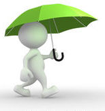 Umbrella and stick figure