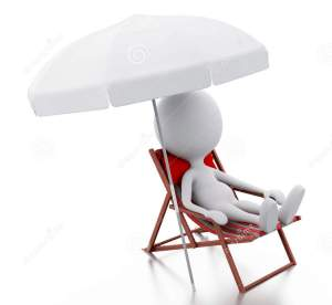 White stick person on red chair under umbrella