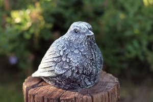 Cement bird for fountain bird-bath