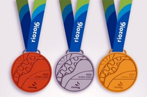 Gold silver and bronz Rio Olympic metals