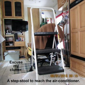 Step stool to reach upper unit