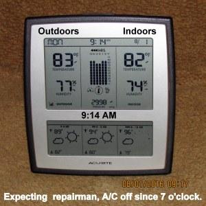 Temperature at nine