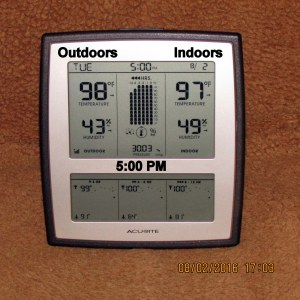 Outdoor indoor temperature at five.