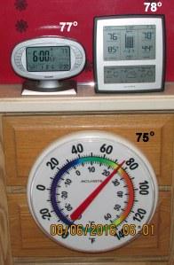 Temperature at six AM