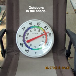 Temperature outdoors in my rocking lawn chair