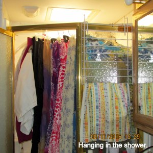 Skirts hanging in shower