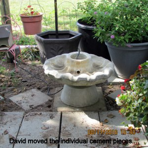 David moved the heavy pieces of fountain