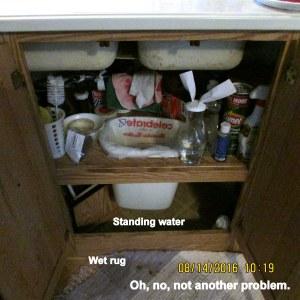 Water on floor under sink