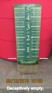 Rain gauge at four PM