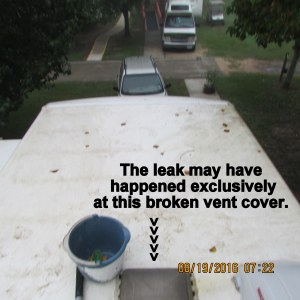 Leak may only be broken vent cover
