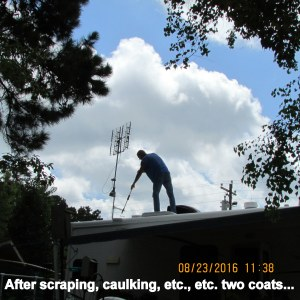 Roger applying second coat
