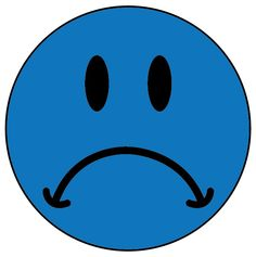 sad smiley face, blue