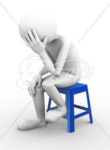 White stick figure on a blue stool depressed