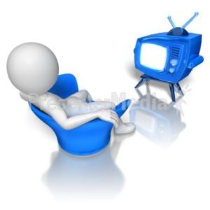 White stick figure watching TV