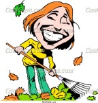 cartoon-lady-raking-leaves