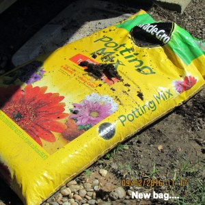 New bag of planter soil