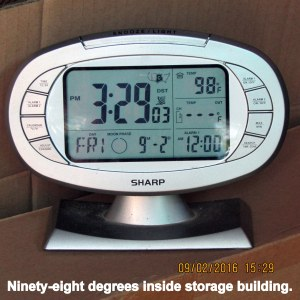Temperature in storage building at three-thirty
