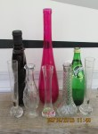 Perrier bottle and thrift shop vases for Bottle Tree