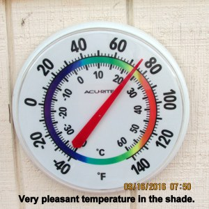 Thermometer on storage building wall