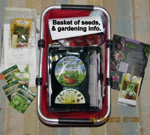 Basket of seeds and gardening info