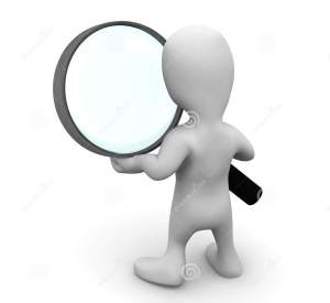 Magnifying glass with white stick figure and magnifying glass with black handle