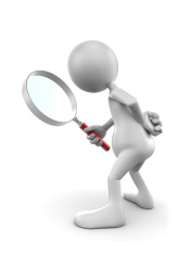 Magnifying glass with white stick figure bending over