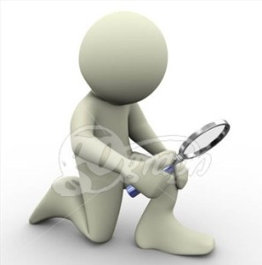 Magnifying glass with white stick figure kneeling