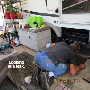 Roger checking the leak