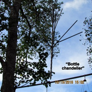 Hung chandelier without bottles