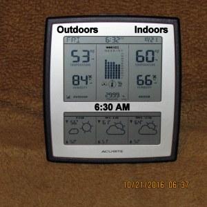 Temperature at six-thirty AM