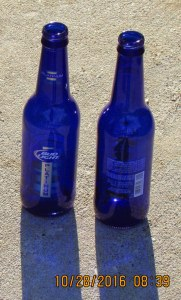 Blue beer bottles