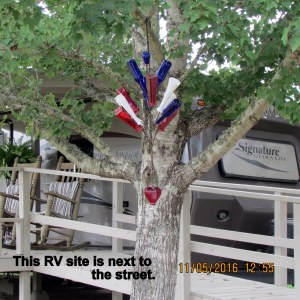 This RV site is close to the street