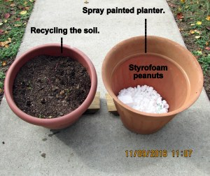 Spray painted planter and recycled soil