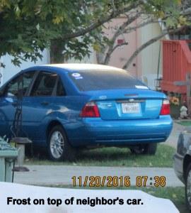 Frost on neighbor's car
