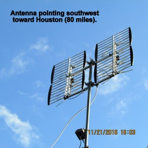 Antenna pointed southwest
